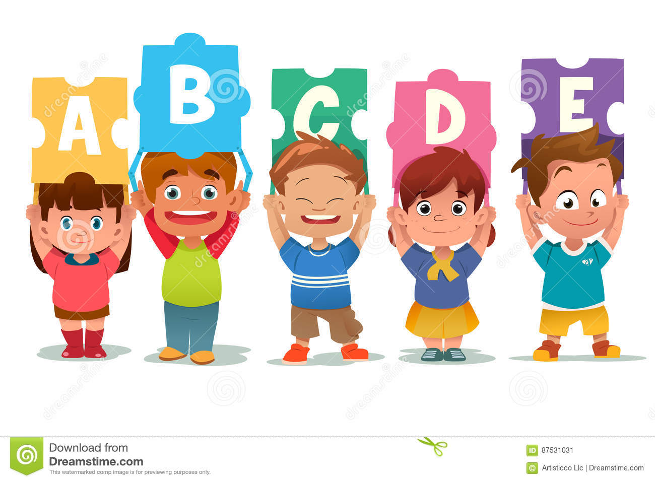 Children Holding Alphabet Puzzle Cards Stock Vector