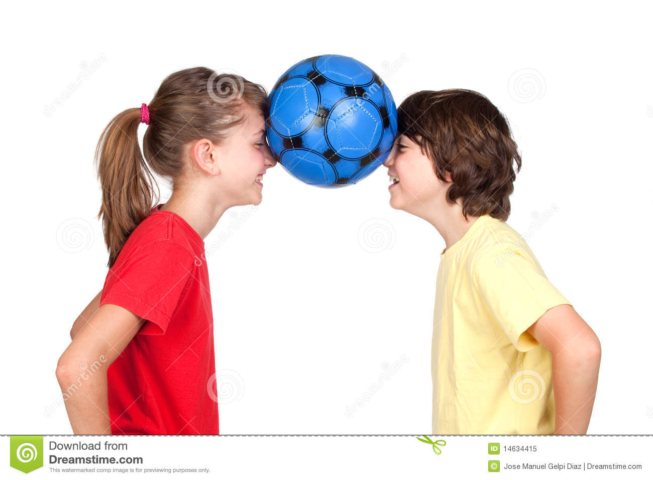 Children Holding A Ball With Their Foreheads Royalty Free Stock Photo ...