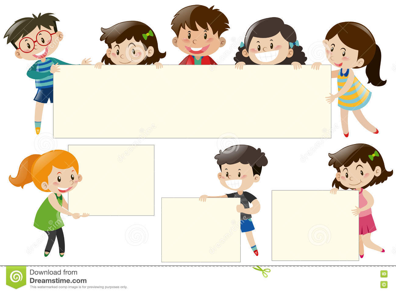 Children Holding Blank White Boards Stock Vector