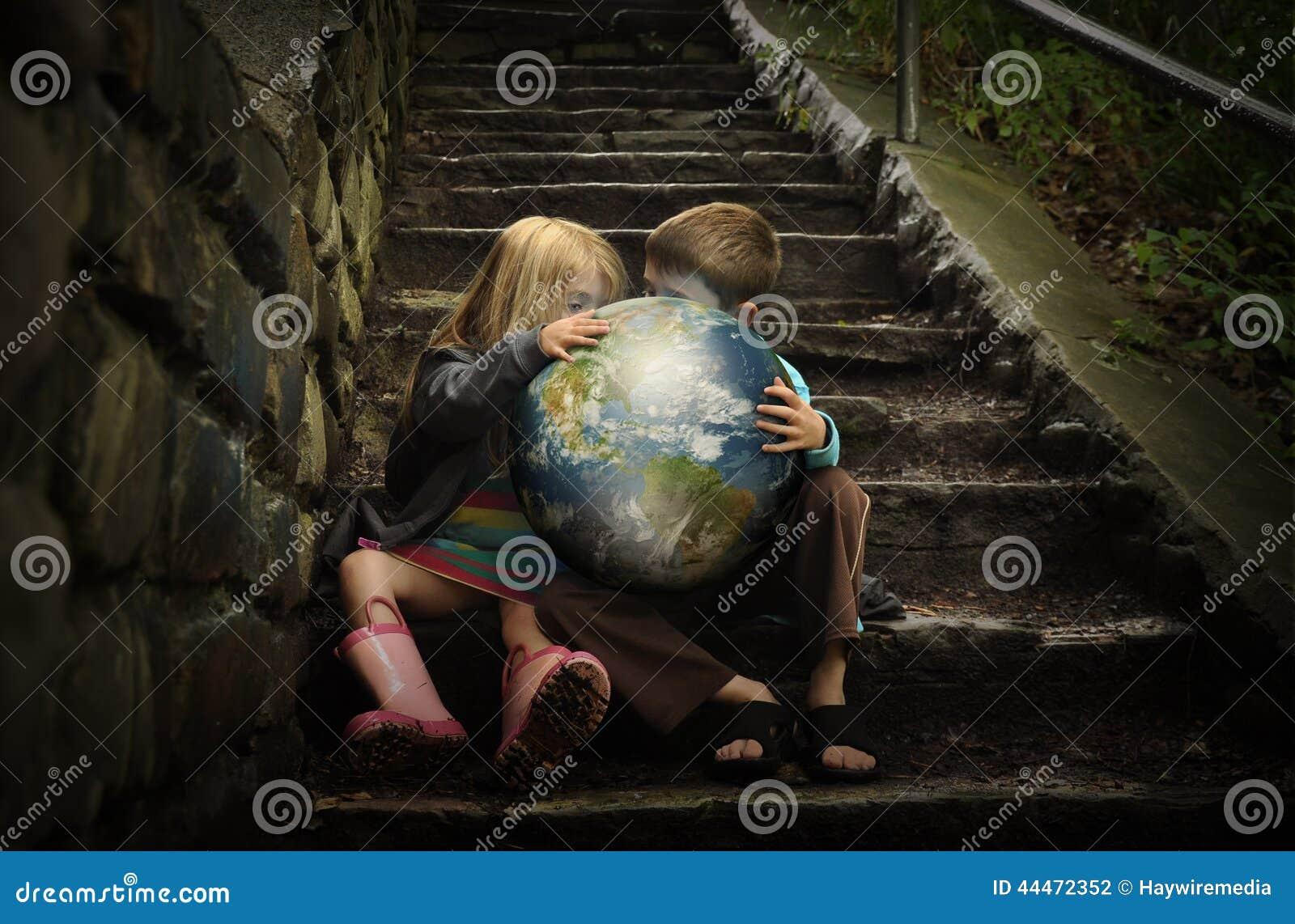 Children Holding Earth Planetin Secret