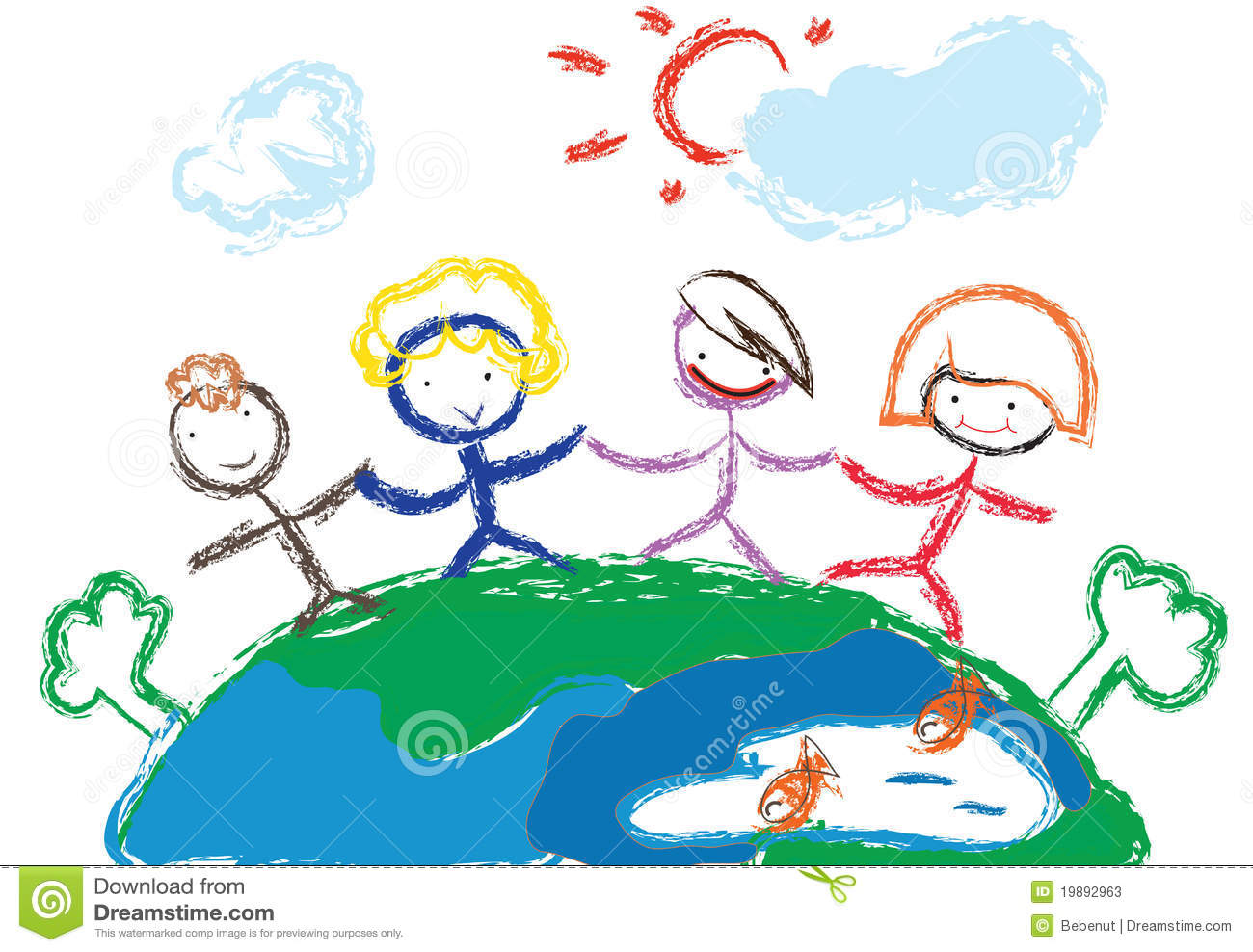 Painting Of Earth With Children Holding Hands