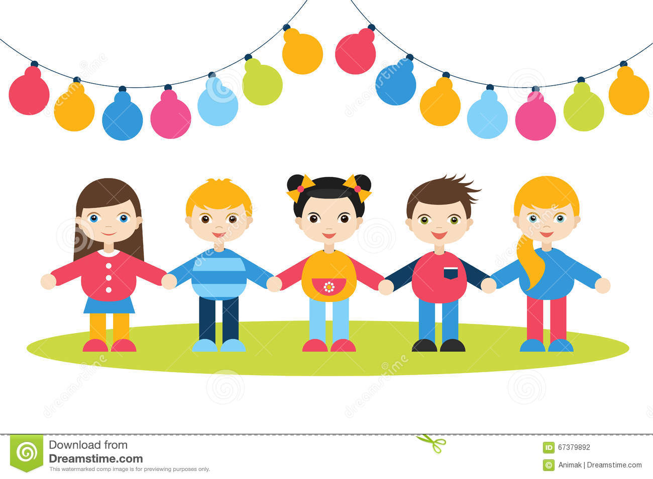 children holding hands cartoon kids figures small boys and girls on a white background with color festive flags - Children Color