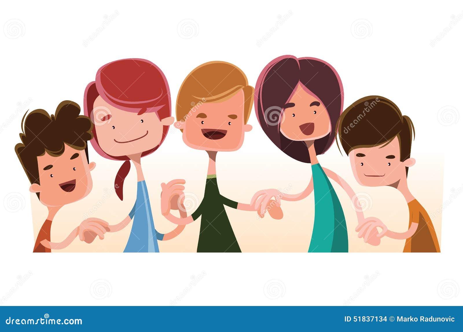 Cartoon Characters Holding Hands : Children holding hands illustration cartoon character