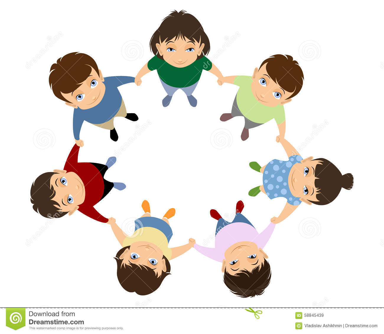 Children Holding Hands Stock Vector - Image: 58845439
