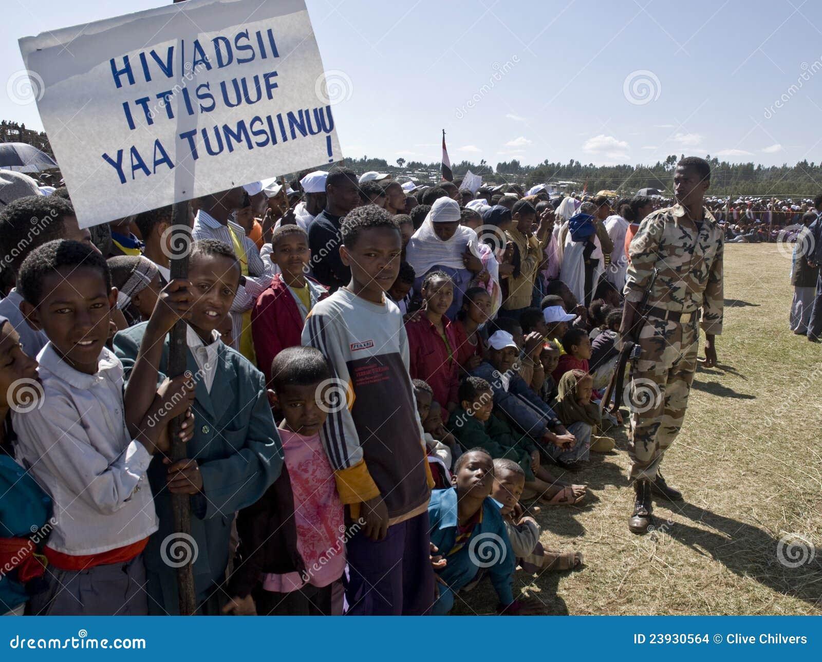 Children holding an HIV banner