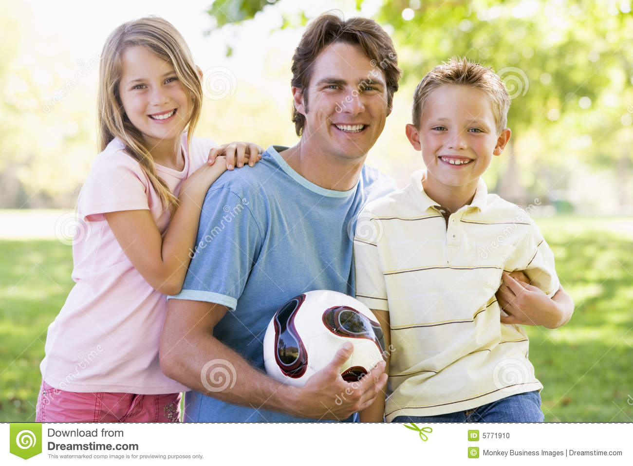 Children holding man two volleyball young