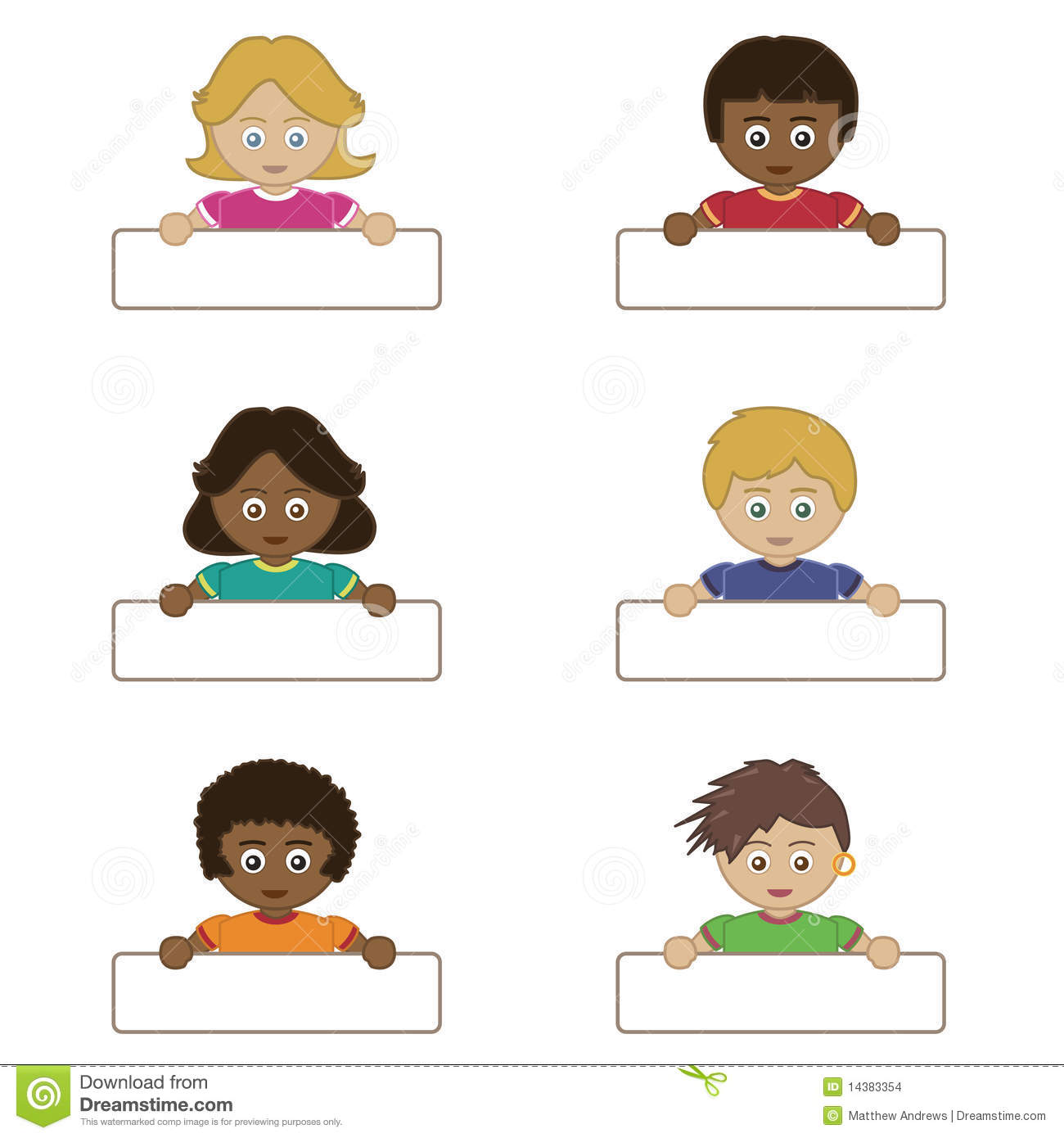 Children Holding Name Tags Stock Vector Illustration Of Badge