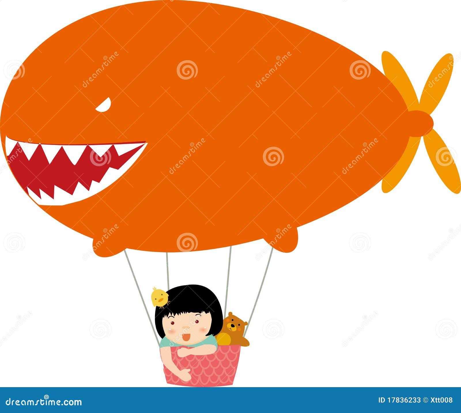 Children And Hot Air Balloon Stock Vector - Illustration ...