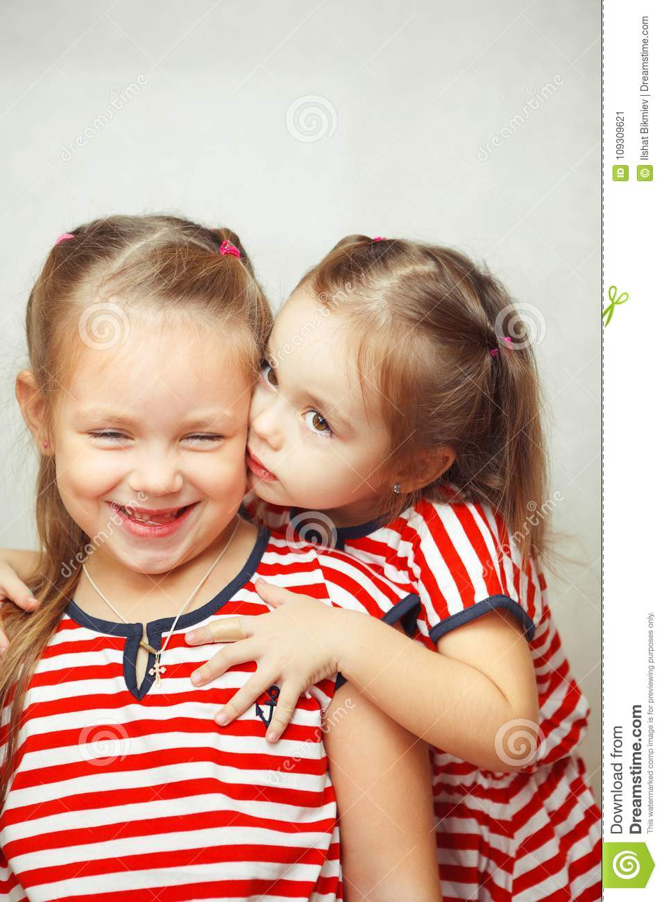 Children Hug Each Other And Smile Happy Kids Stock Image Image Of