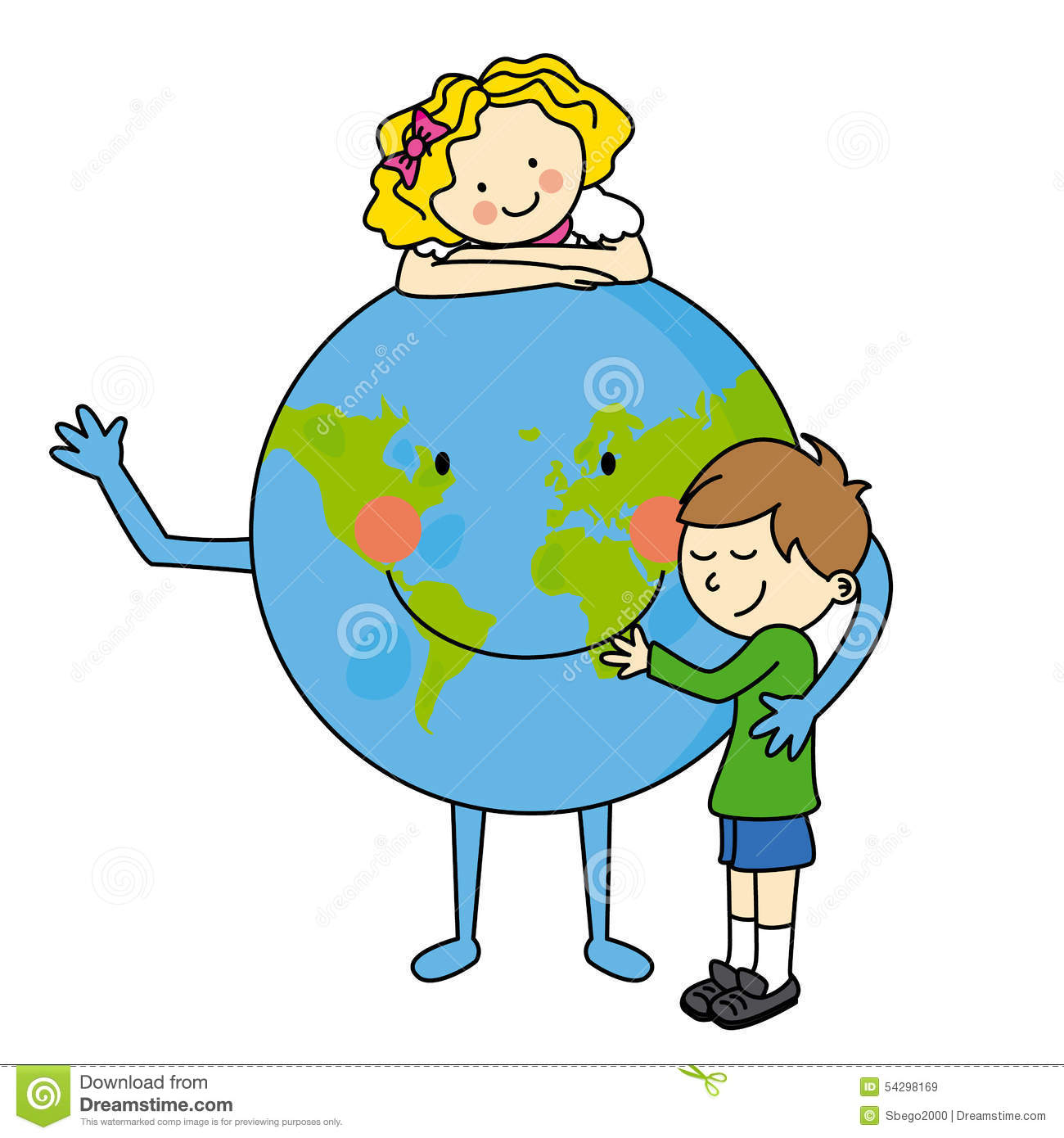 Children Hugging The Planet Stock Vector - Illustration ...