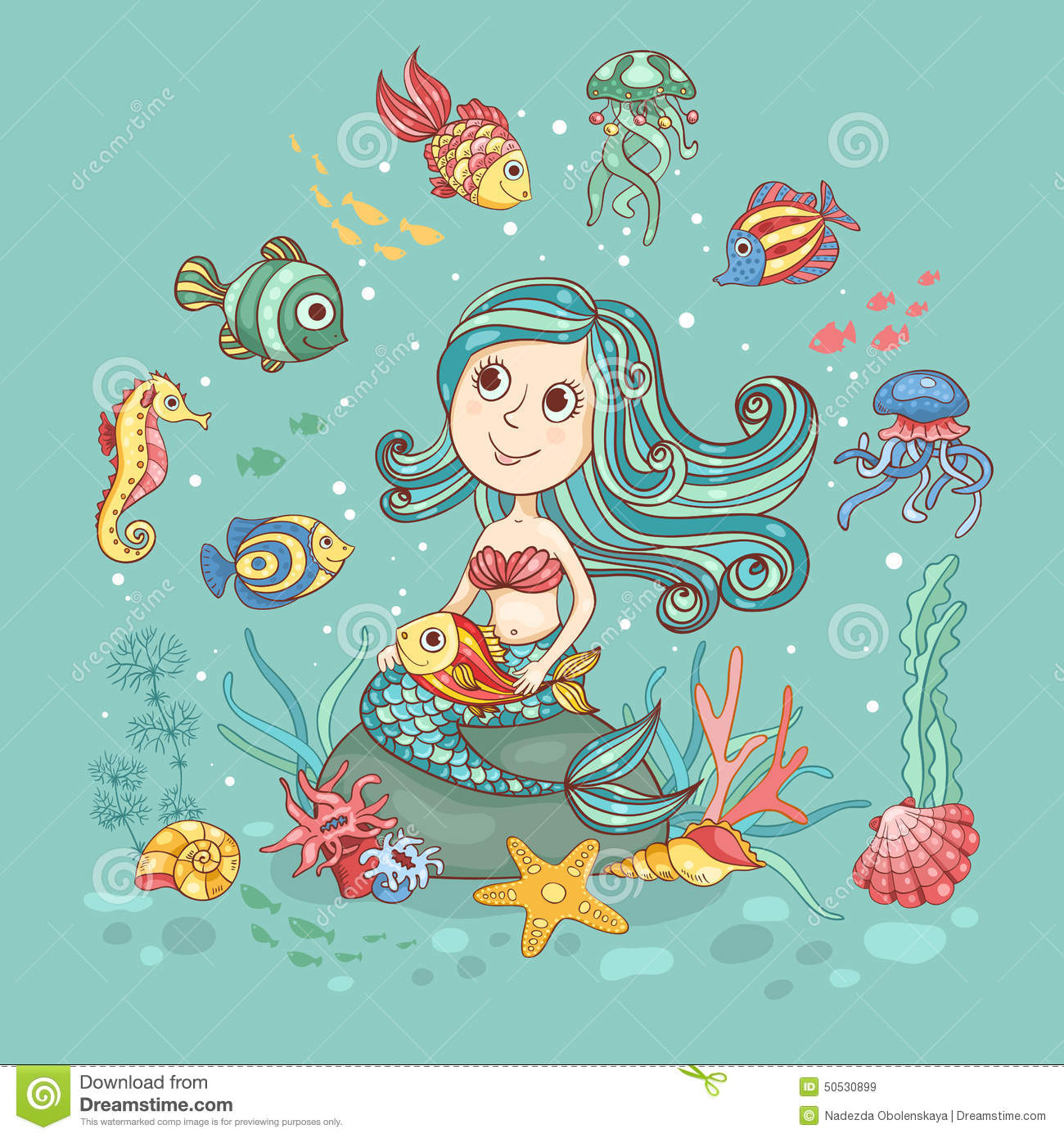 children illustration with mermaid on green stock vector image