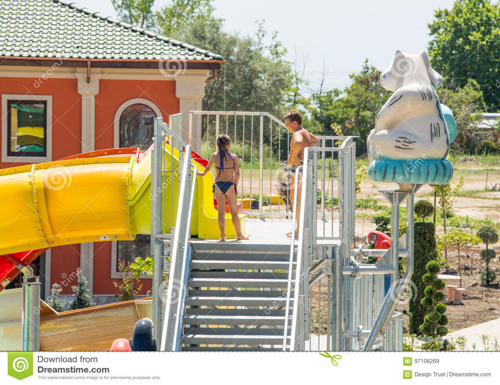 Children In An Indoor Water Park In A Five-star Hotel In