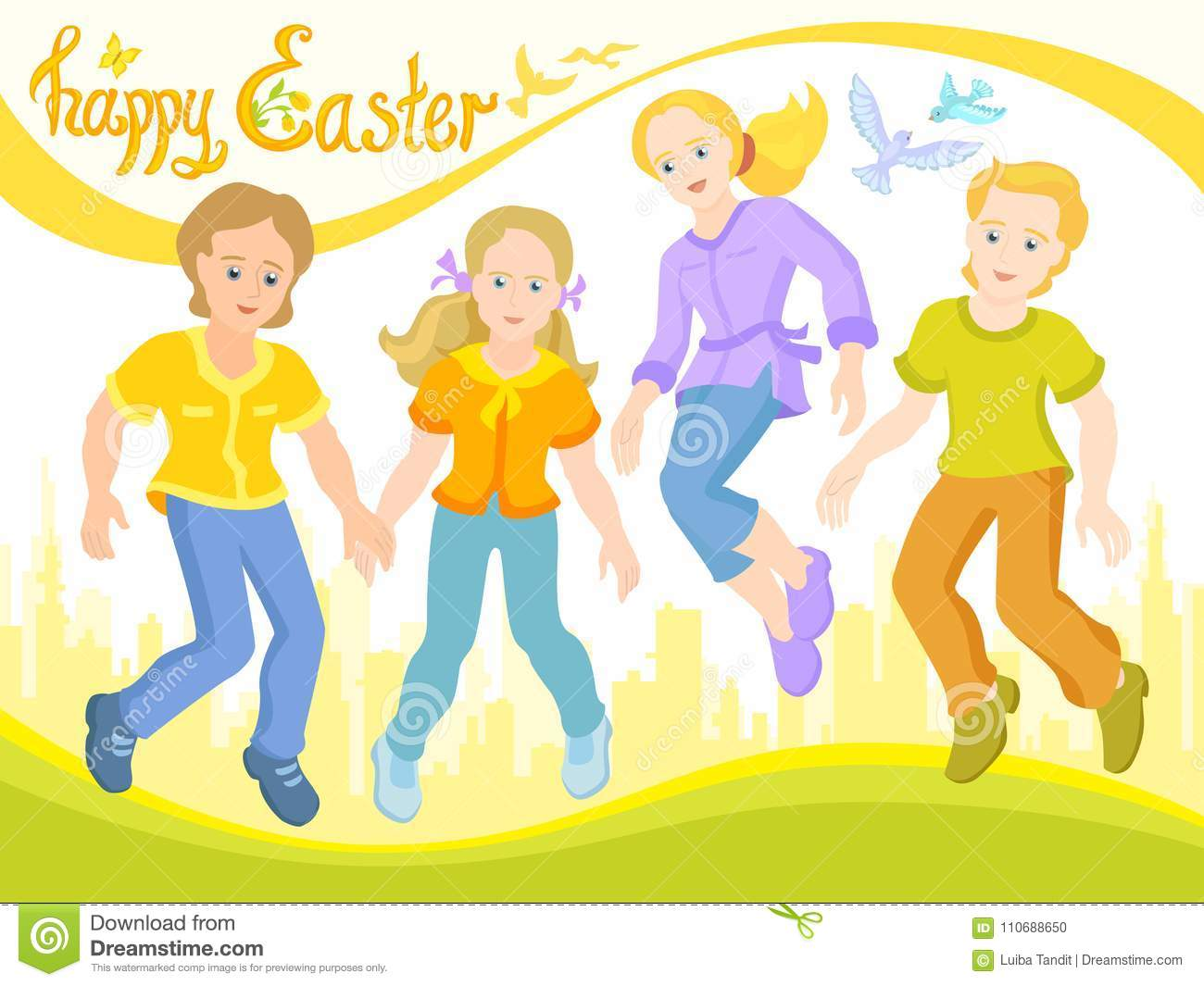 Happy Easter, Children Are Friends, Sunny Postcard Stock