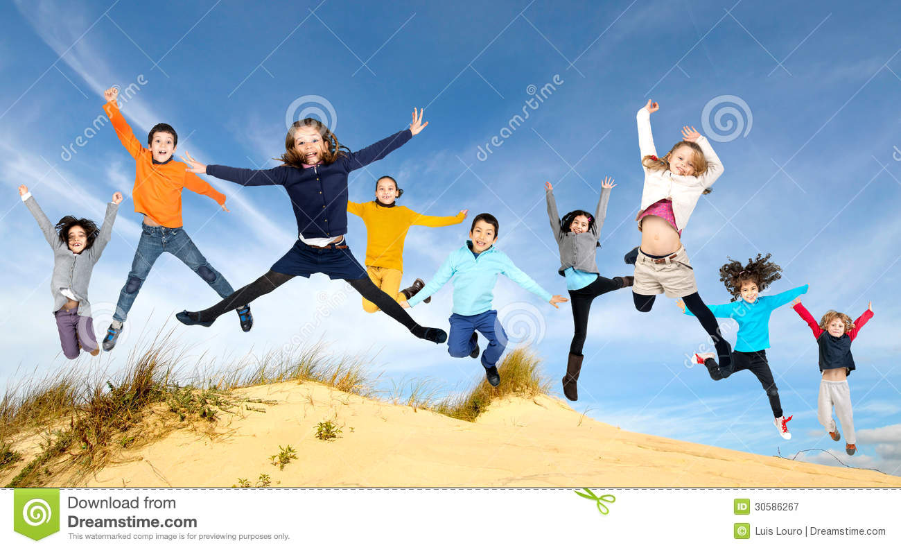 773aaa7f3204a Children Jumping Royalty Free Stock Photography - Image ... Group Of Happy  Cheerful Sportive Children ...