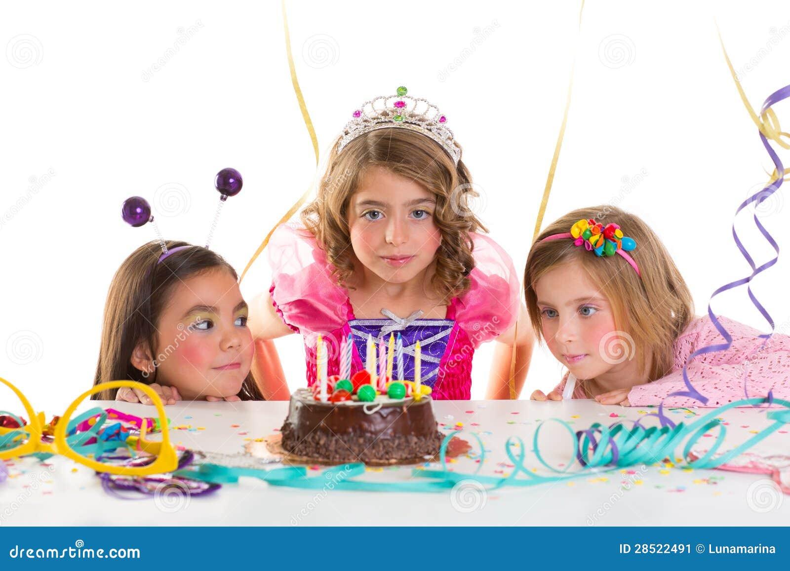 Children Kid Girls Birthday Party Look Excited Chocolate Cake Stock