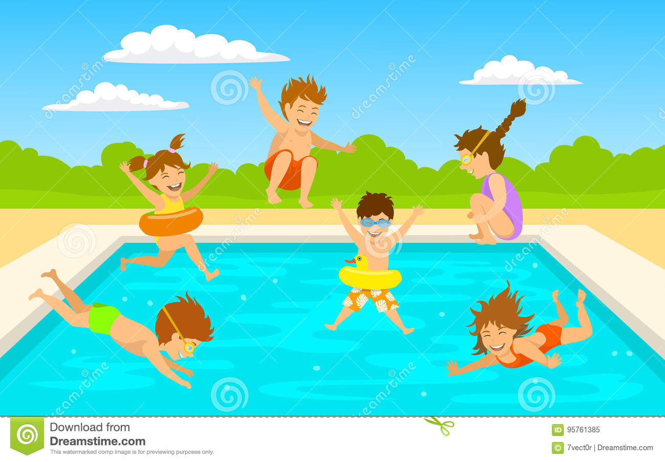 Boys Diving Into Pool Royalty Free Stock Photography
