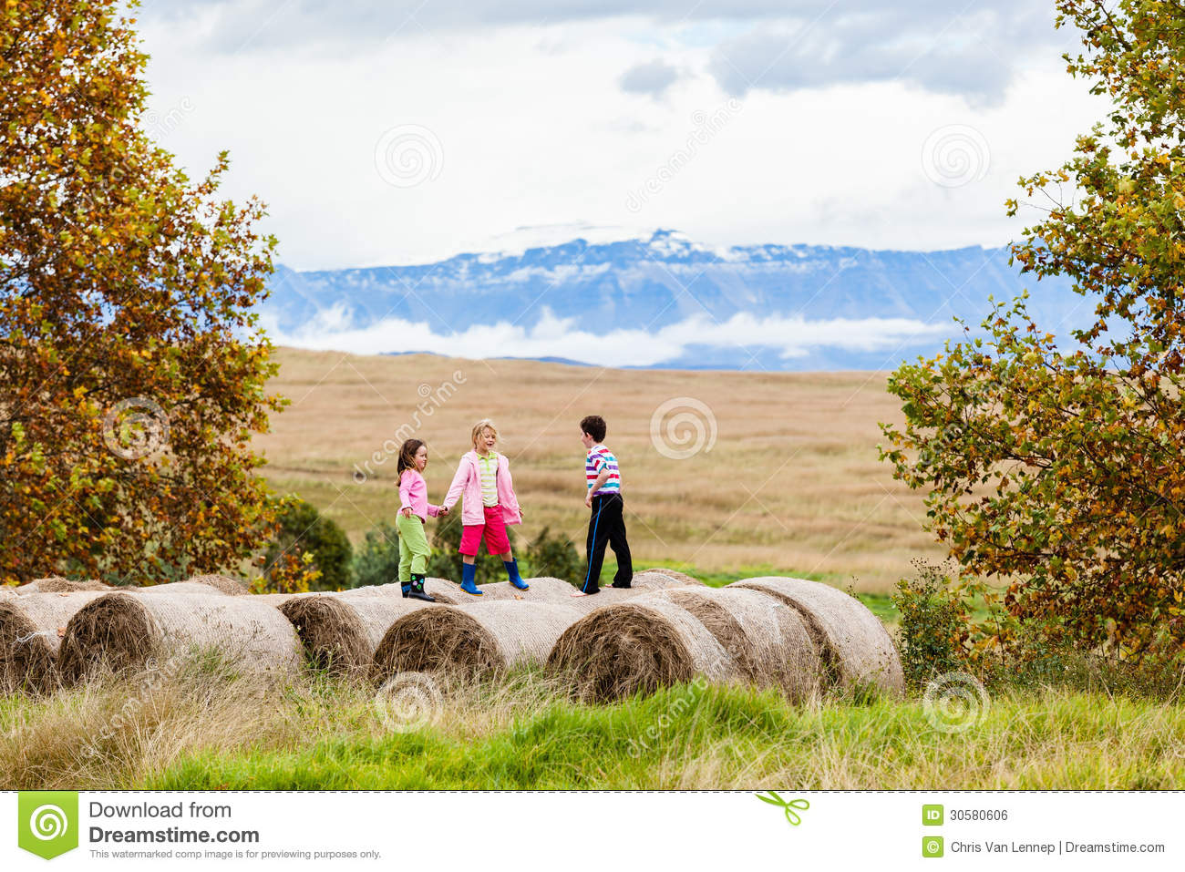 children fun grass bales farm editorial photo image