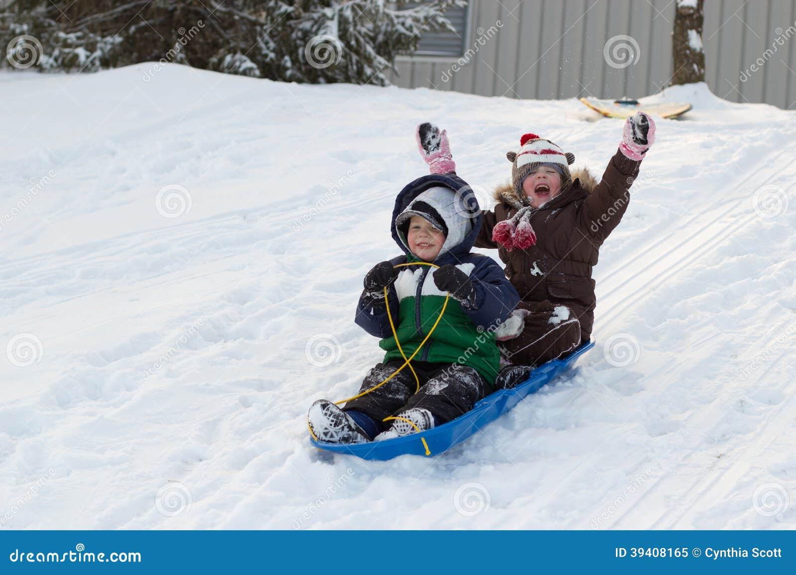 Children Kids Sledding Toboggan Sled Snow Winter Stock Photo - Image ...