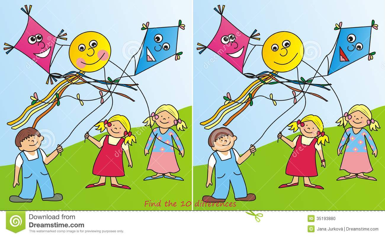 Children and kites - 10 differences