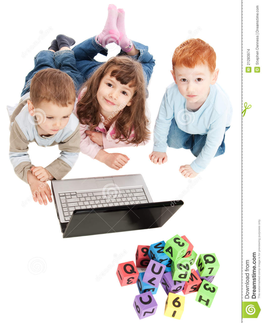 Children Learning With Kids Blocks And Computer Stock Images ...