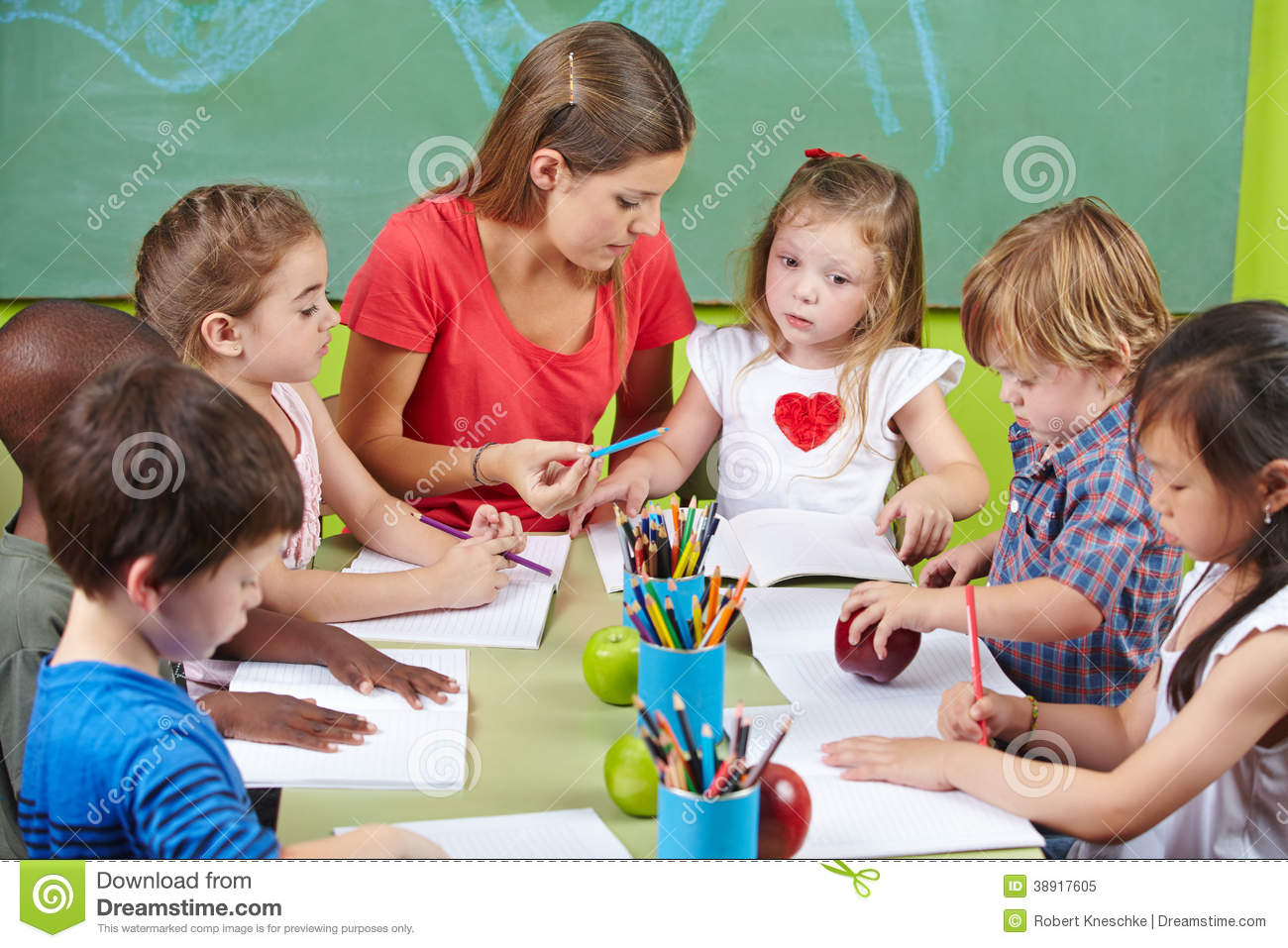 Http Www Dreamstime Com Royalty Free Stock Photo Children Learning Writing Together Preschool Nursery Teacher Image38917605
