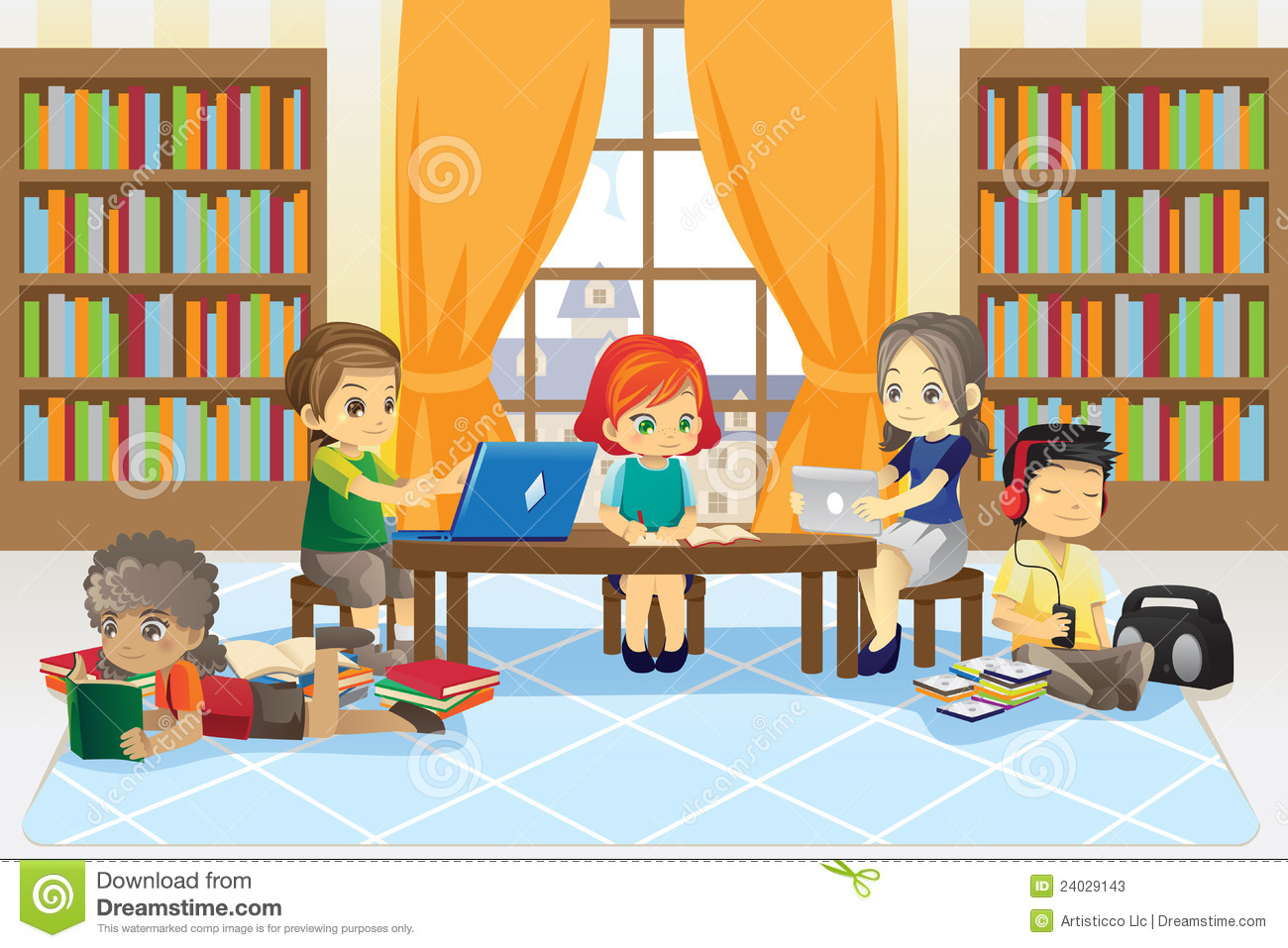 Children in library stock vector. Illustration of ...