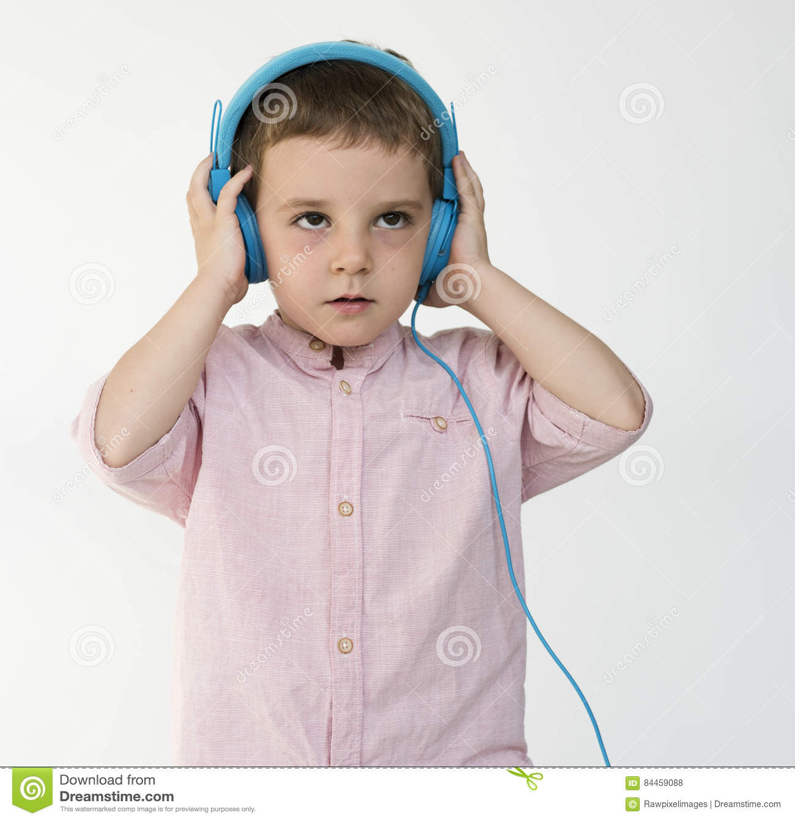 Children Listening Music Song Headphones Concept