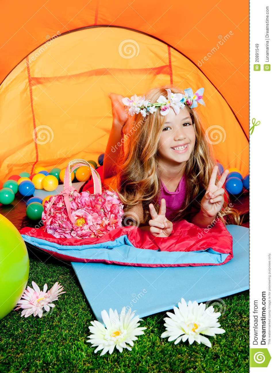 Children Little Girl Lying In Camping Tent Royalty Free