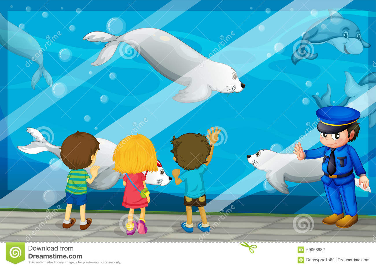 Children Looking At Fish At The Aquarium Stock Vector