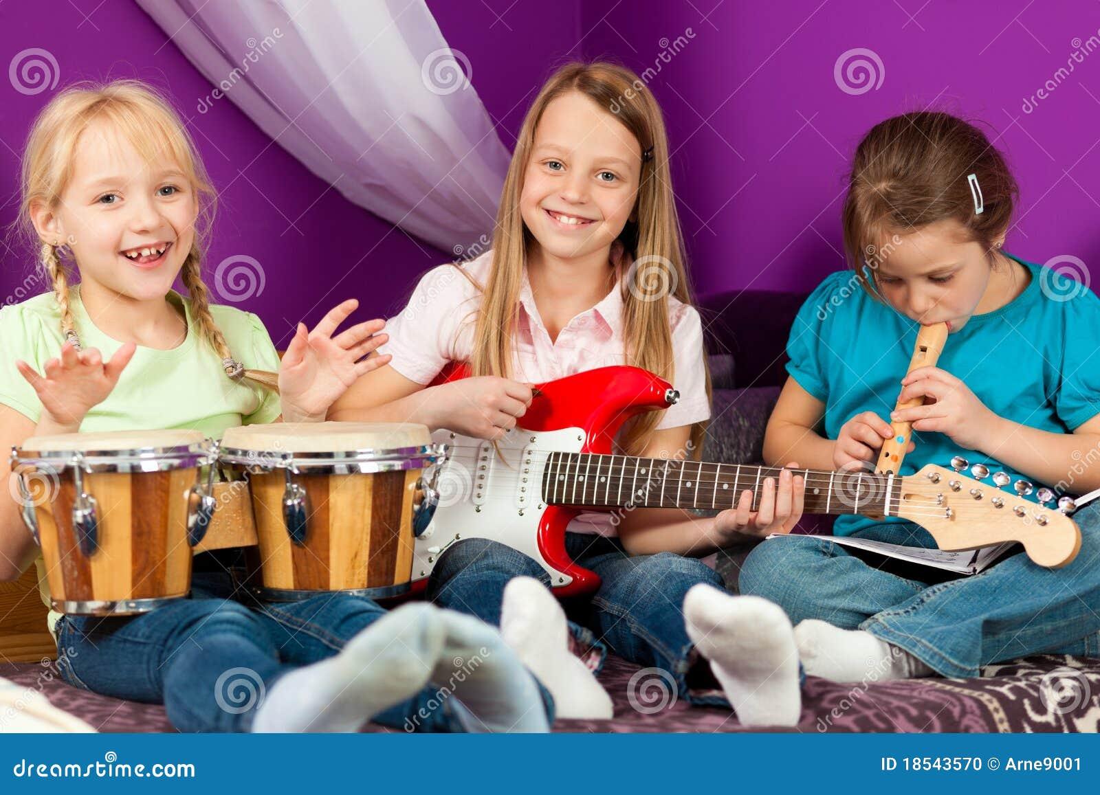 Children making music