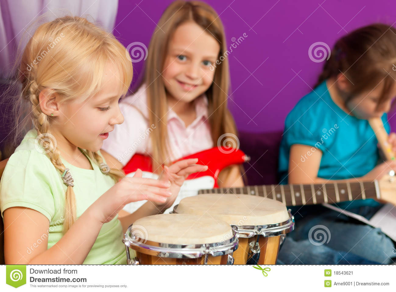 Children making music