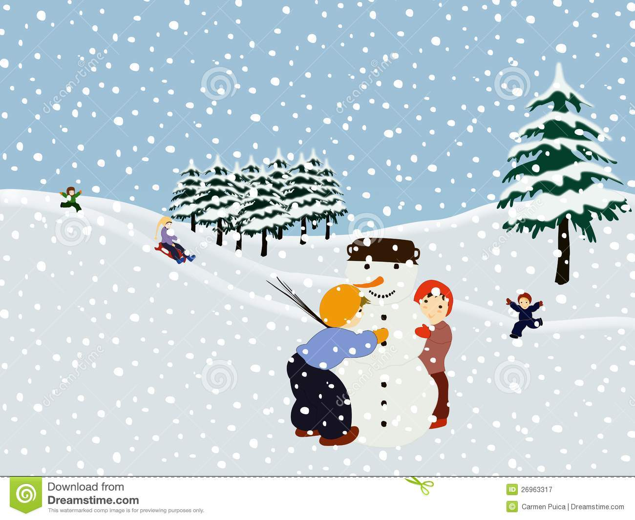 Children Making A Snowman. Winter Illustration. Royalty Free Stock ...