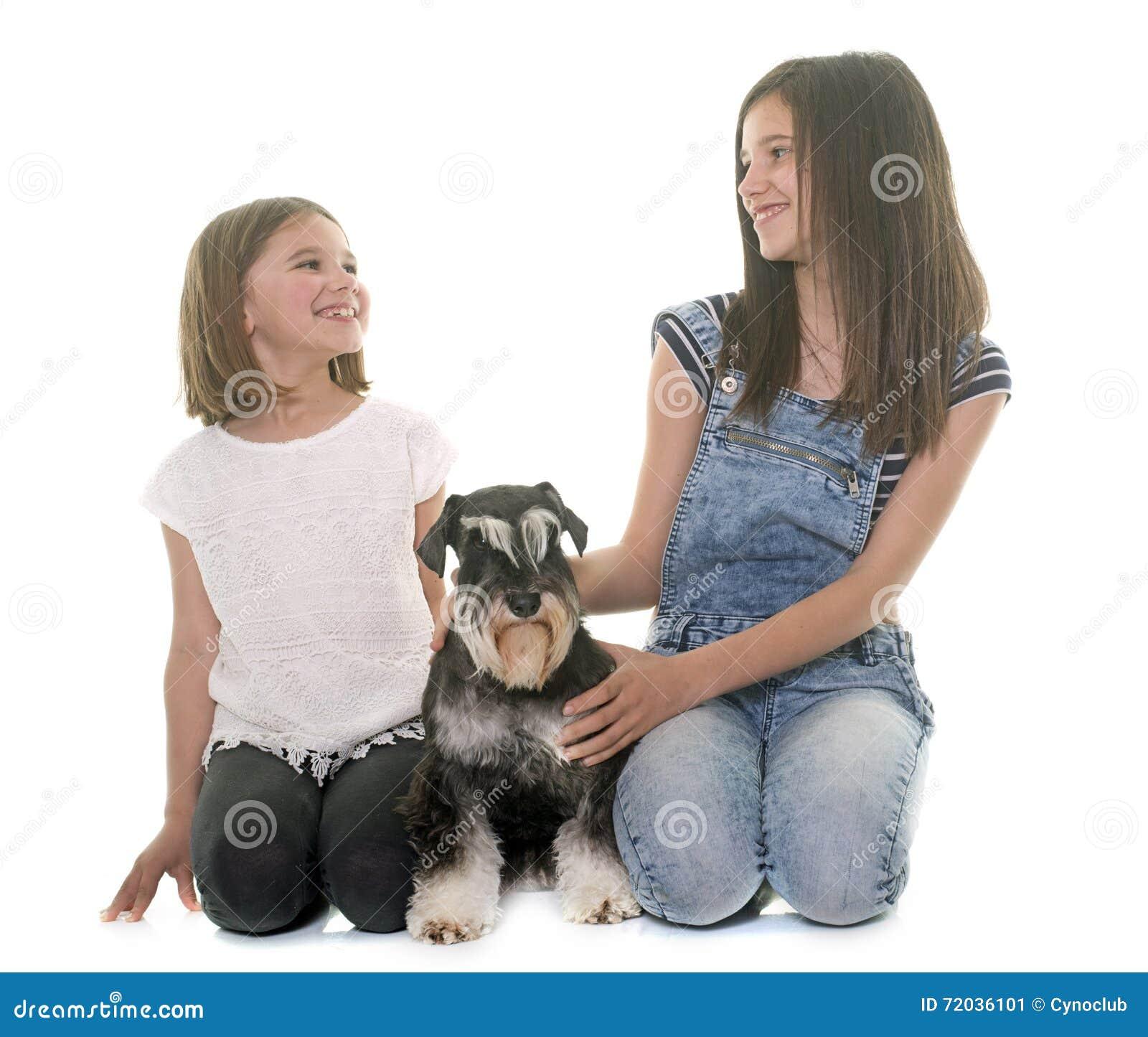 Children and miniature schnauzer