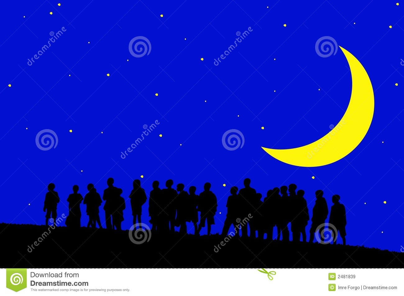 Kids at night with moon royalty free stock photography image - Children In Moonlight Royalty Free Stock Images