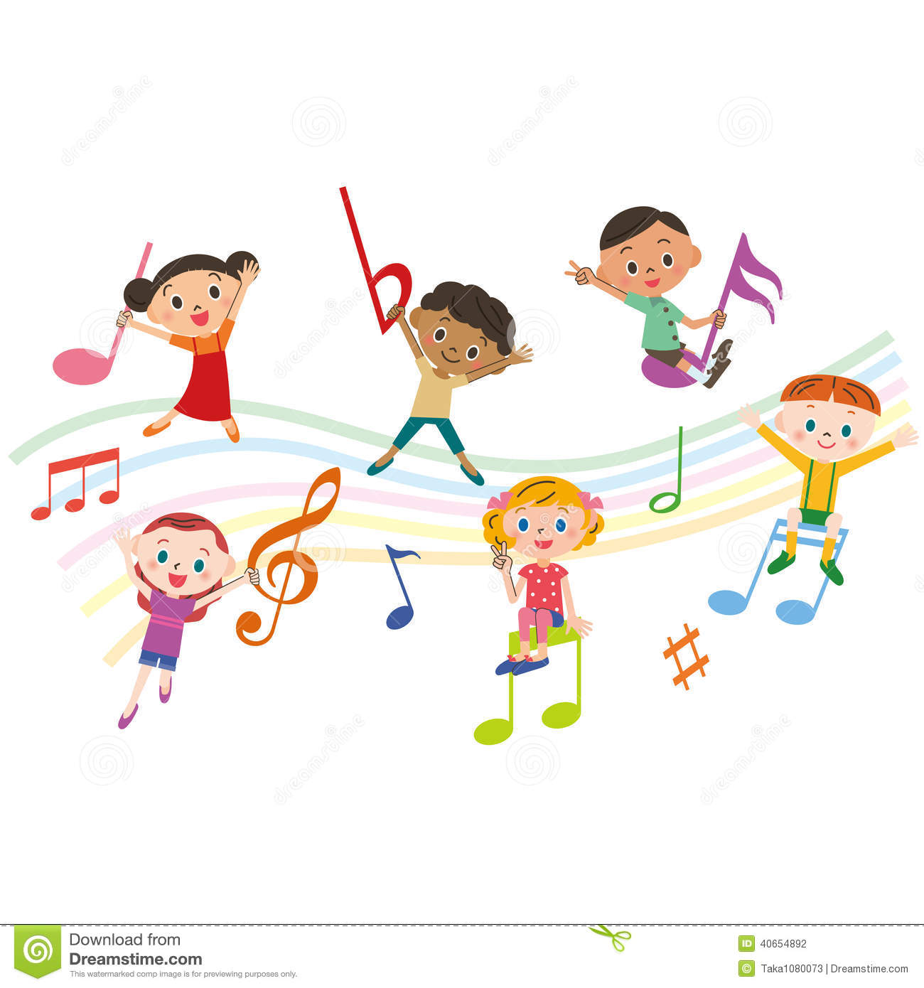 Children With Music Notes Stock Vector Image 40654892