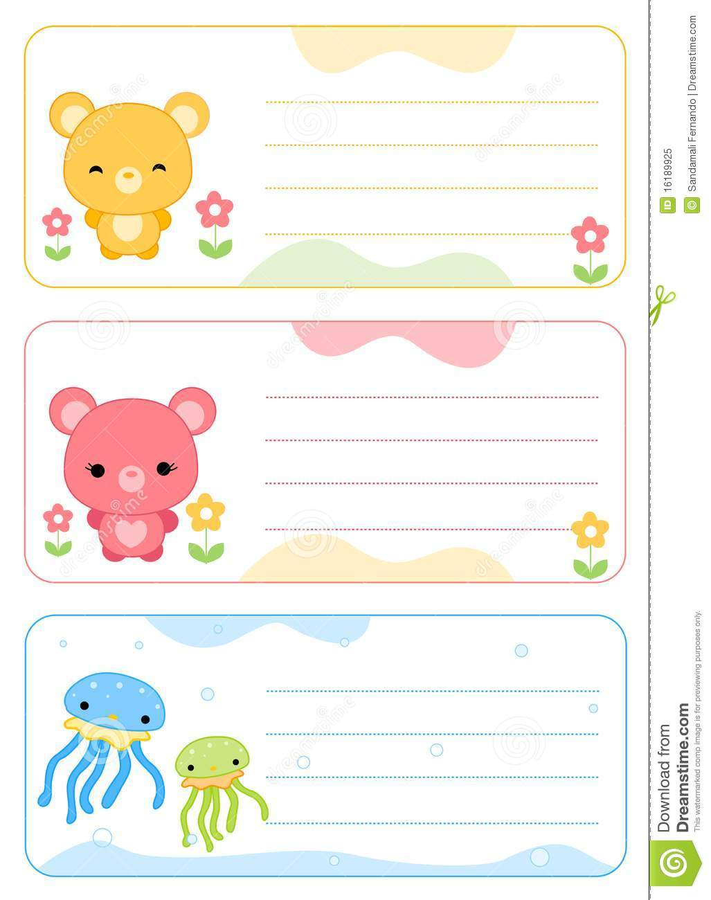 Children Name Cards Royalty Free Stock Photo - Image: 16189925