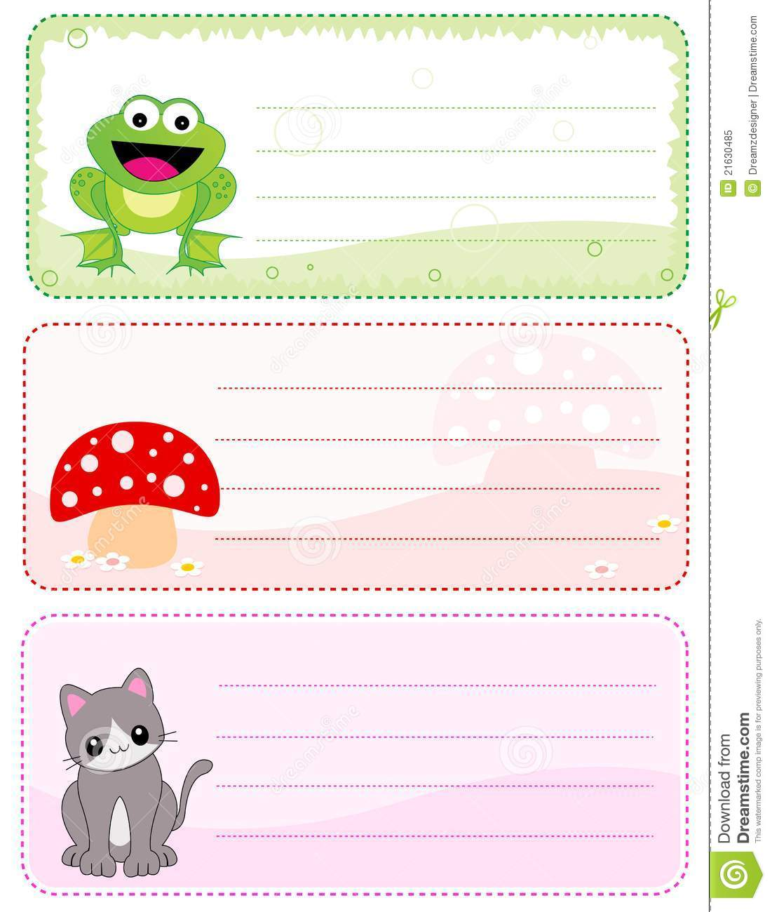 kids name cards / stickers with empty space to add details like name ...