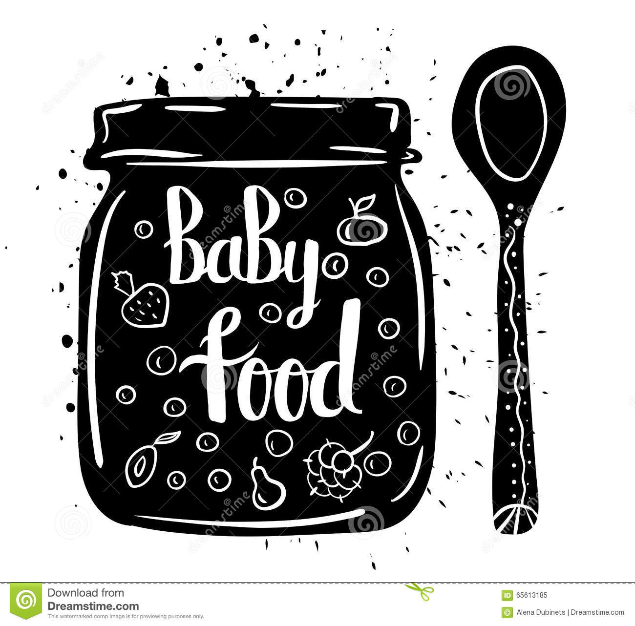 Children Natural Food. Spoon And Jar Of Baby Puree Fresh ...
