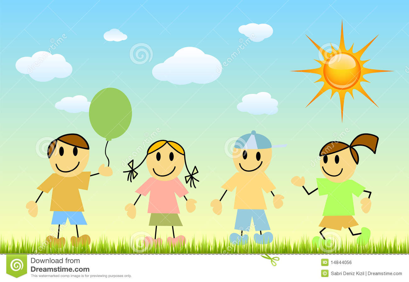 Children with nature stock vector. Image of outdoor ...
