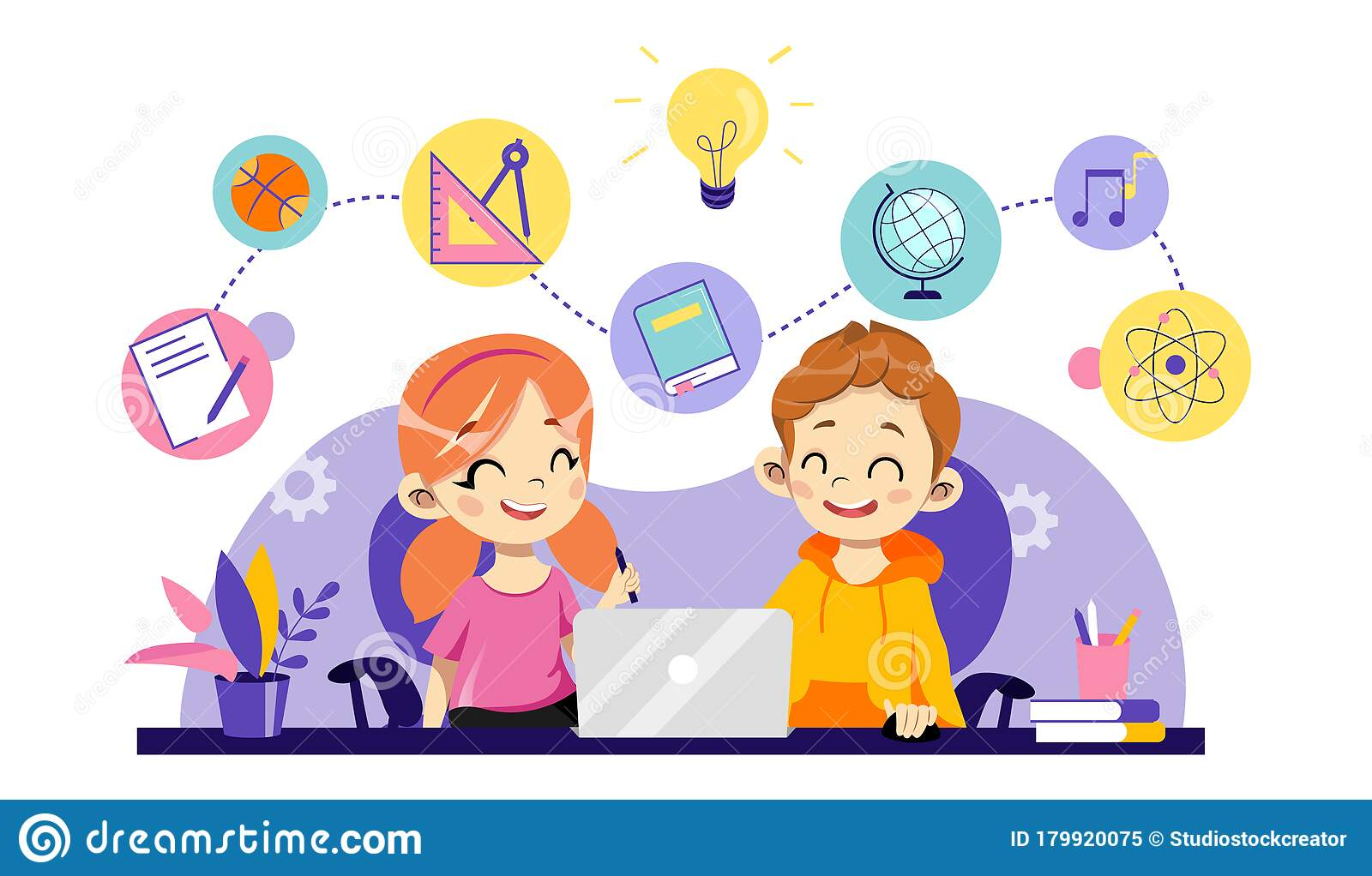 Children Online Education Remote Studying Training And Courses Learning Video Tutorials Cheerful Children Are Study Stock Vector Illustration Of Child Internet 179920075