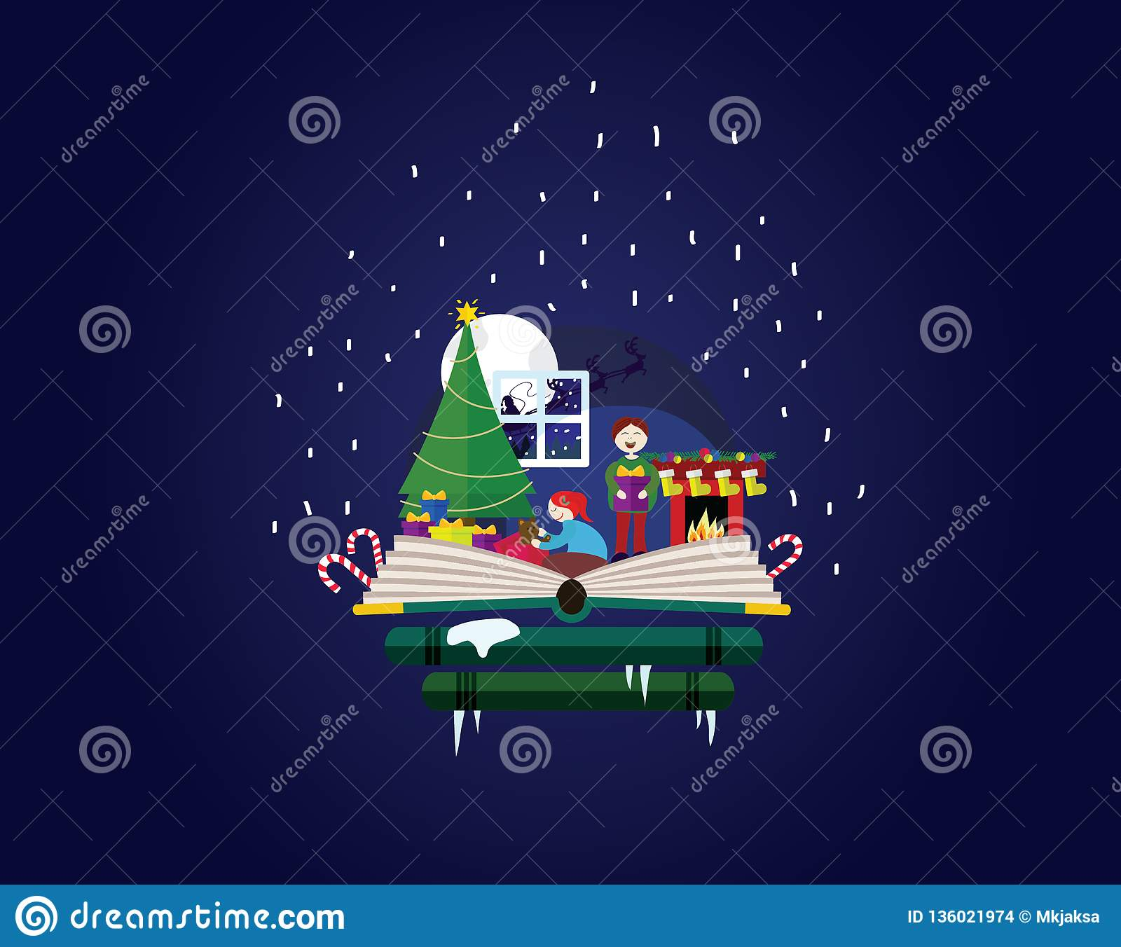 Children Opening Presents In Home Story Out Of A Book Stock