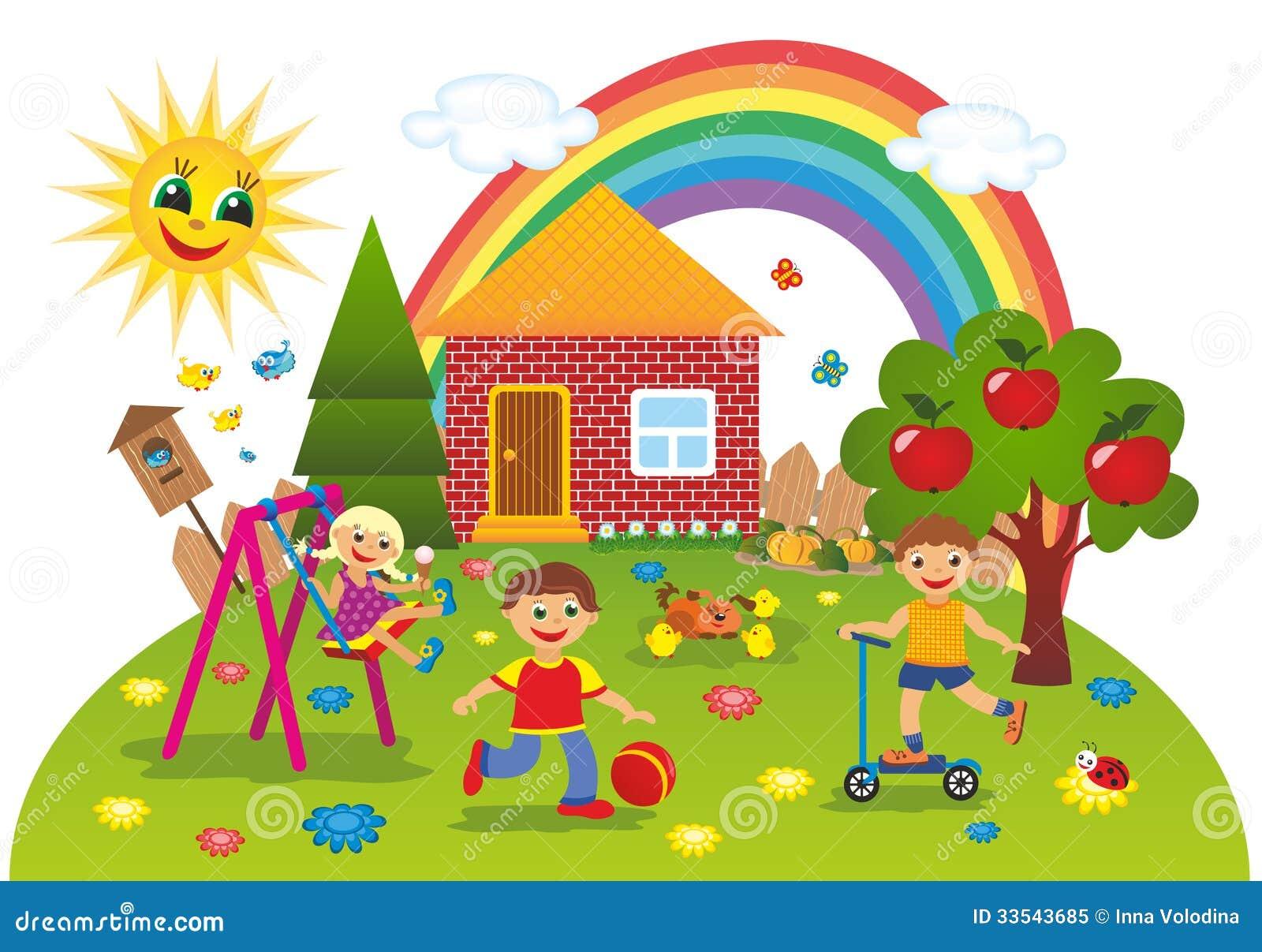 Children Outdoors In Summer Stock Illustration ...