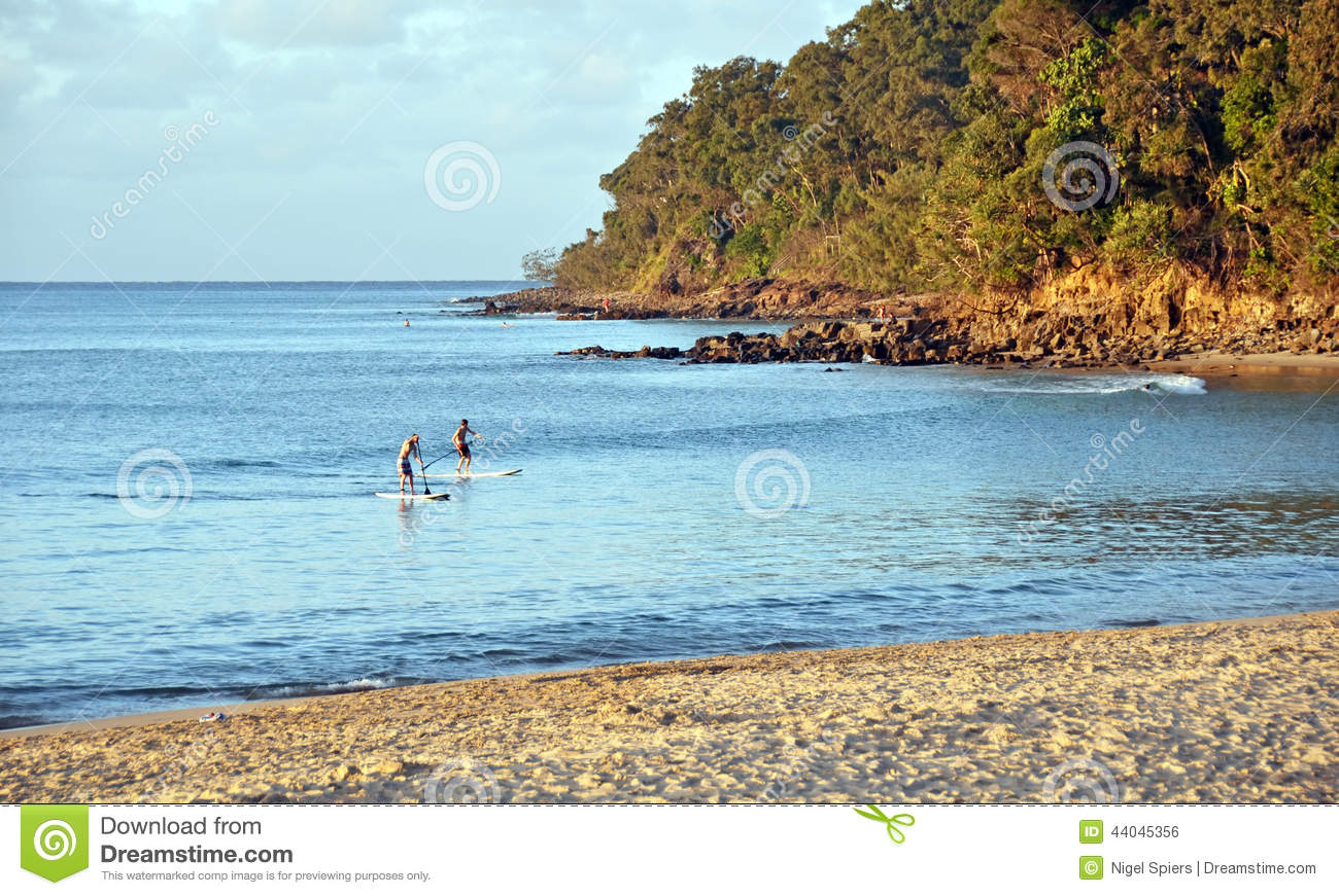 Children On Paddle Boards At Noosa Heads Beach At Sunset ...