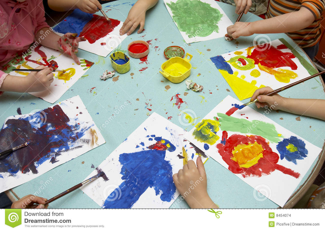 Children painting stock photo. Image of draw, crafts, education ...