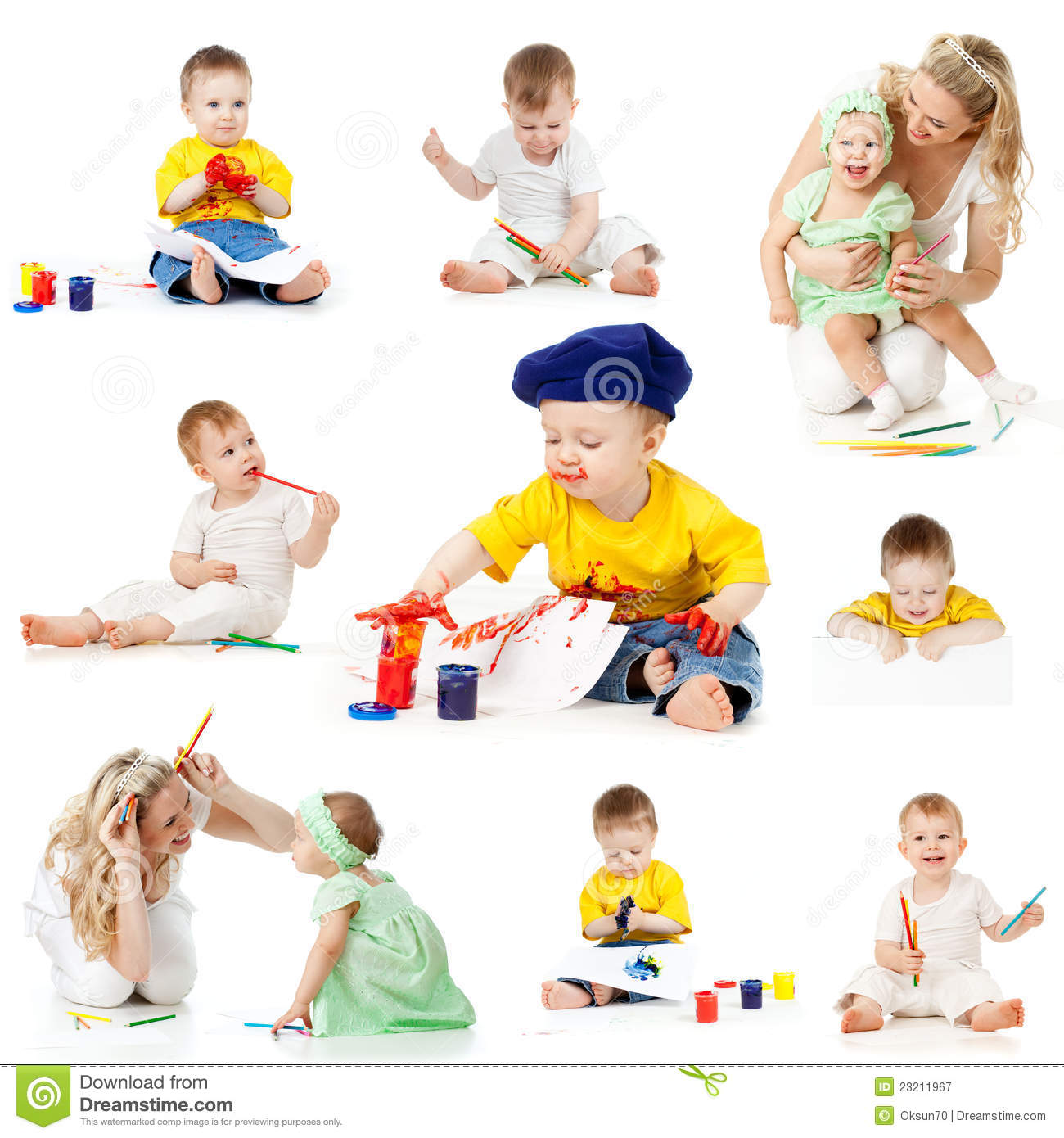 Children painting and drawing pencils