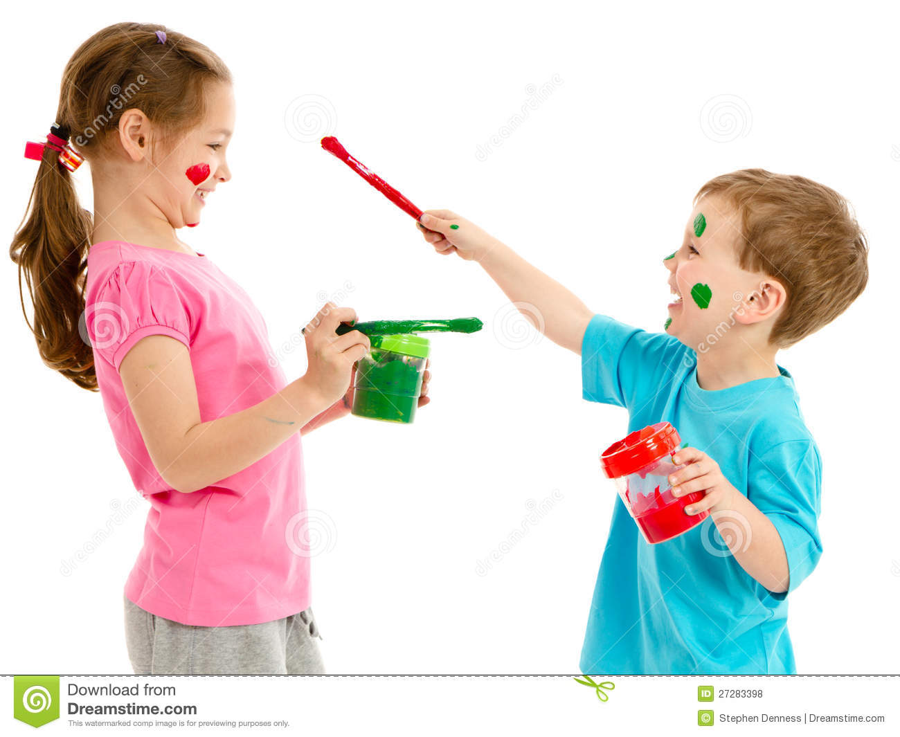 Children Painting Faces With Kids Paint Brushes Royalty Free Stock ...