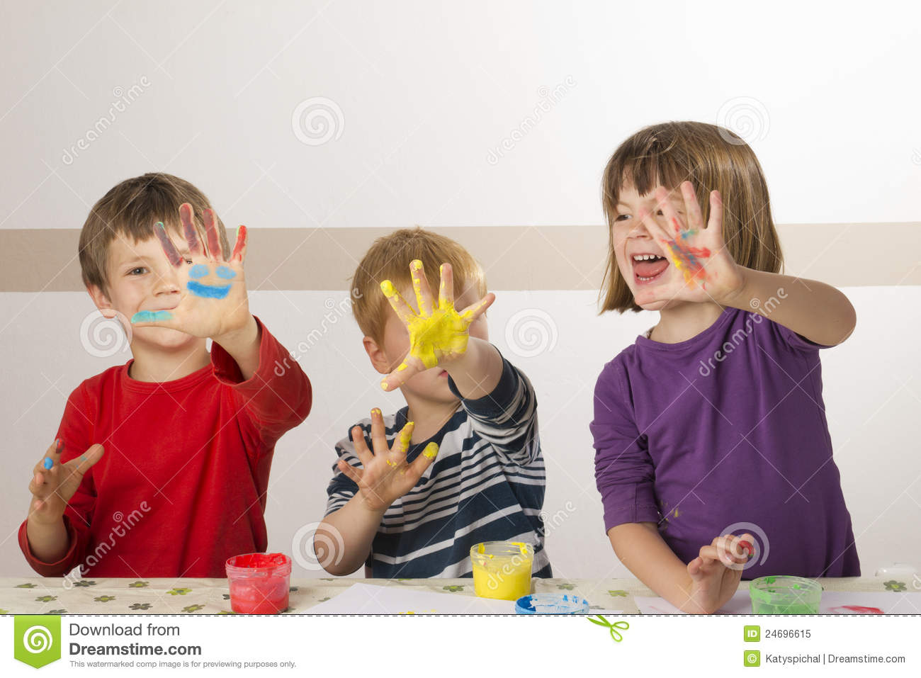 children painting with finger paint royalty free stock photo image