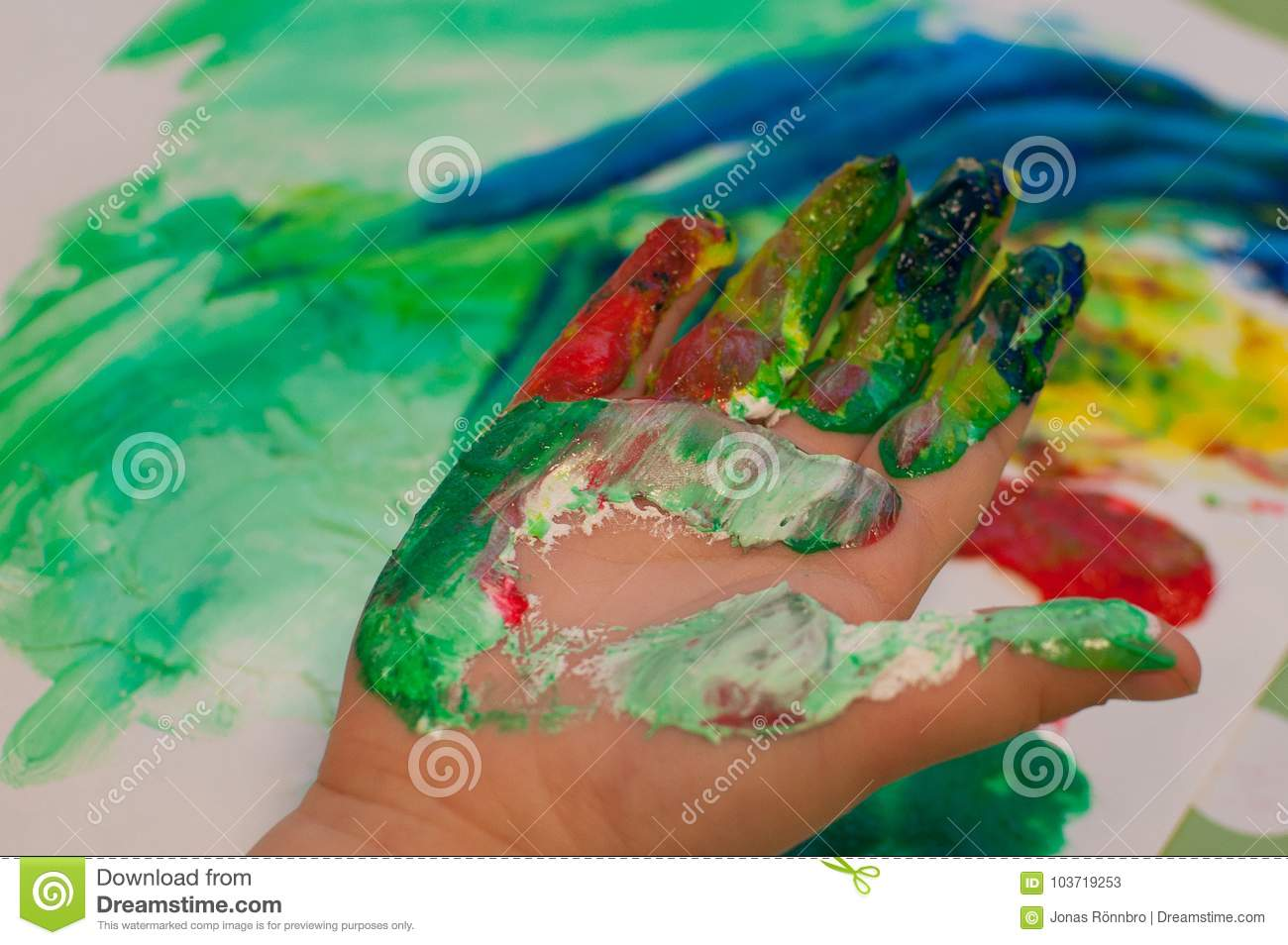 Children Painting With Pinger Paint Stock Image - Image of play