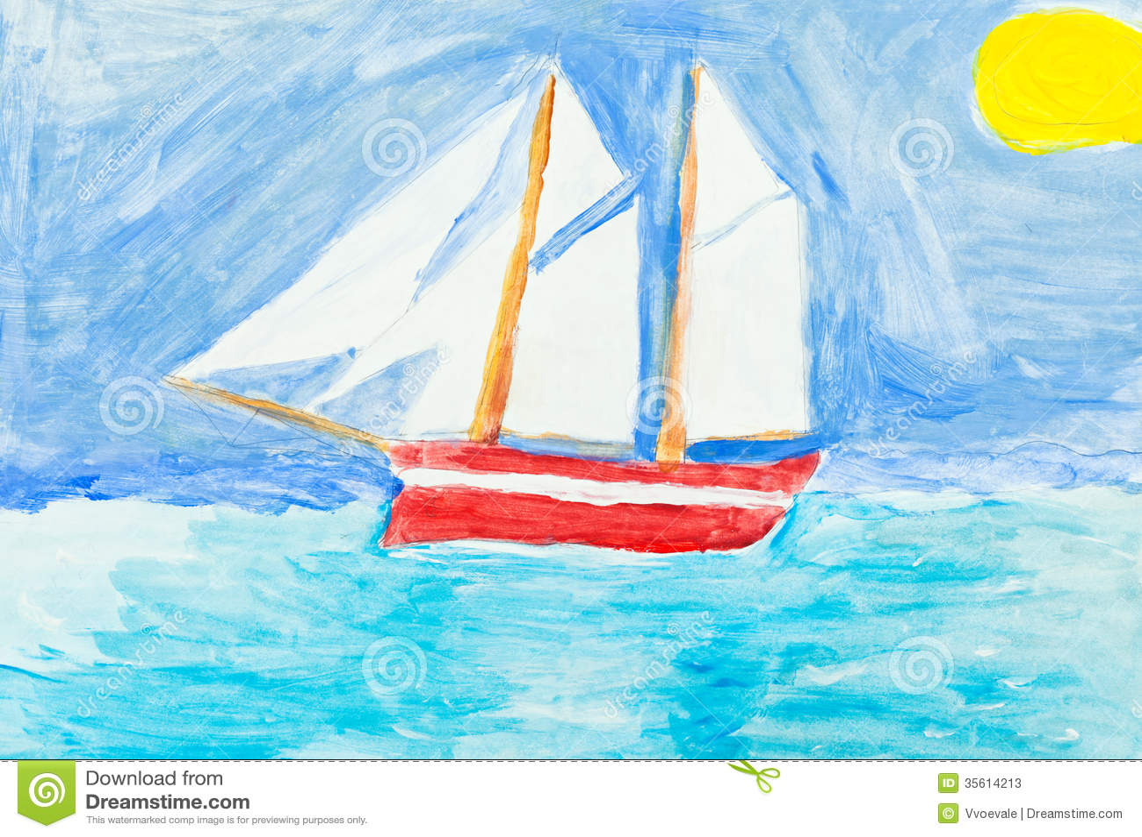 Children Painting - Sailing Vessel In Blue Ocean Stock Photos - Image ...