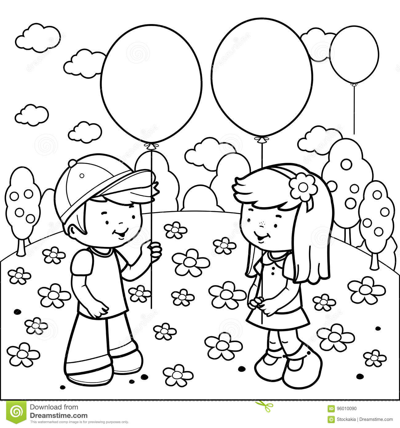 Children At The Park Playing With Balloons Coloring Book